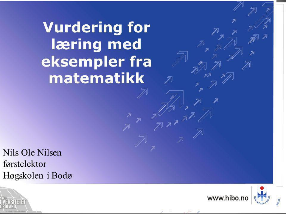 Nils Ole Nilsen førstelektor Høgskolen i Bodø Vurdering for læring med eksempler fra matematikk