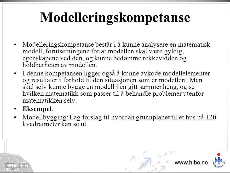 Modelleringskompetanse •Modelleringskompetanse består i å kunne analysere en matematisk modell, forutsetningene for at modellen skal være gyldig, egenskapene ved den, og kunne bedømme rekkevidden og holdbarheten av modellen.