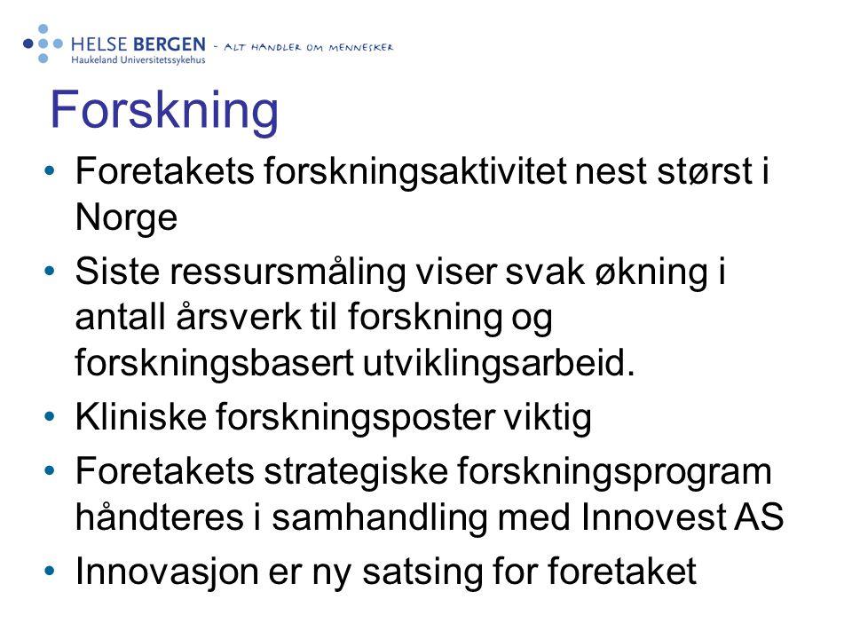 Forskning •Foretakets forskningsaktivitet nest størst i Norge •Siste ressursmåling viser svak økning i antall årsverk til forskning og forskningsbaser