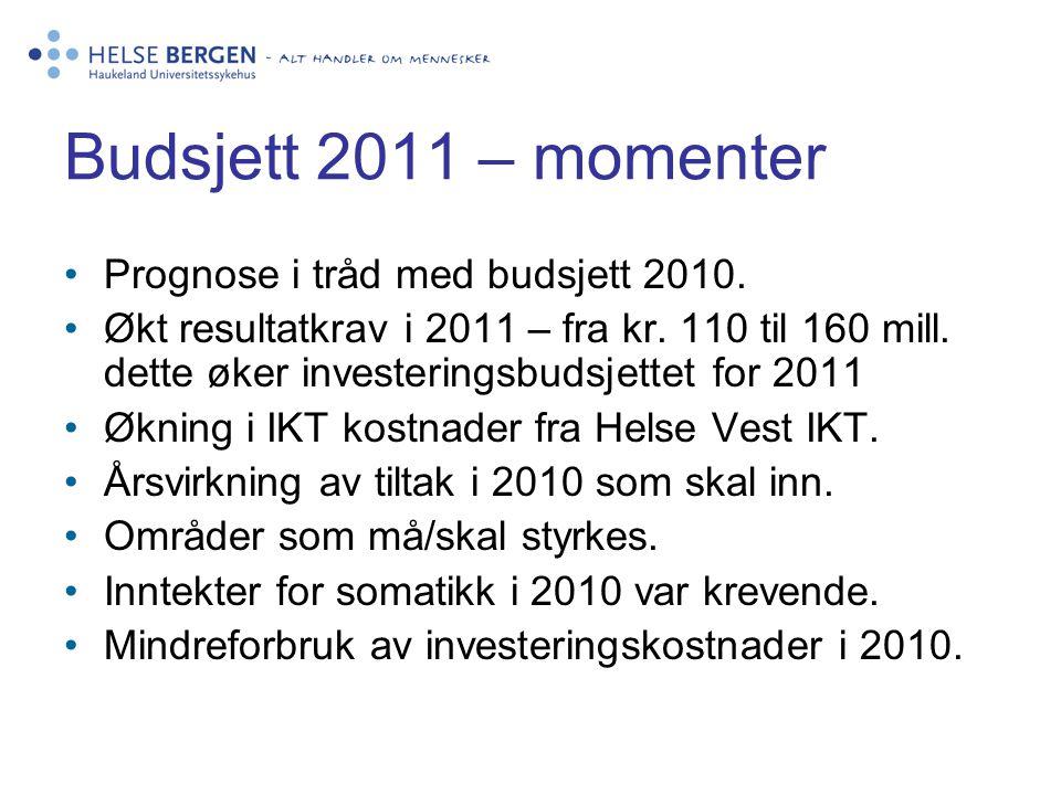 Budsjett 2011 – momenter •Prognose i tråd med budsjett 2010. •Økt resultatkrav i 2011 – fra kr. 110 til 160 mill. dette øker investeringsbudsjettet fo