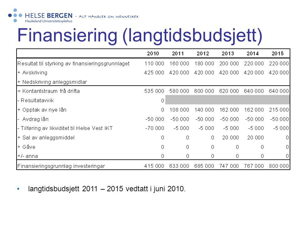 Finansiering (langtidsbudsjett) •langtidsbudsjett 2011 – 2015 vedtatt i juni 2010.