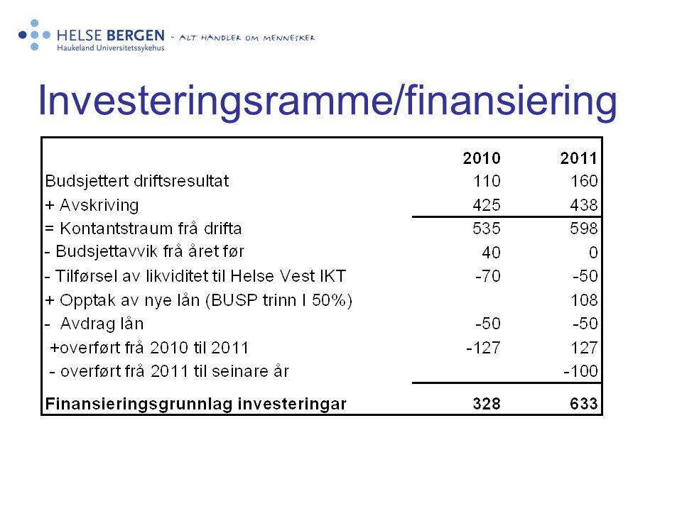 Investeringsramme/finansiering