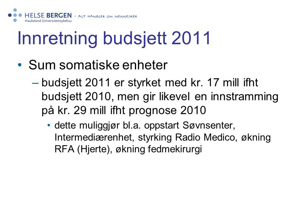 Innretning budsjett 2011 •Sum somatiske enheter –budsjett 2011 er styrket med kr. 17 mill ifht budsjett 2010, men gir likevel en innstramming på kr. 2