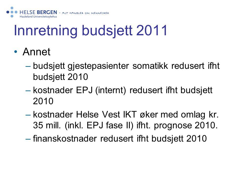 Innretning budsjett 2011 •Annet –budsjett gjestepasienter somatikk redusert ifht budsjett 2010 –kostnader EPJ (internt) redusert ifht budsjett 2010 –k