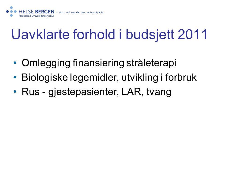 Uavklarte forhold i budsjett 2011 •Omlegging finansiering stråleterapi •Biologiske legemidler, utvikling i forbruk •Rus - gjestepasienter, LAR, tvang