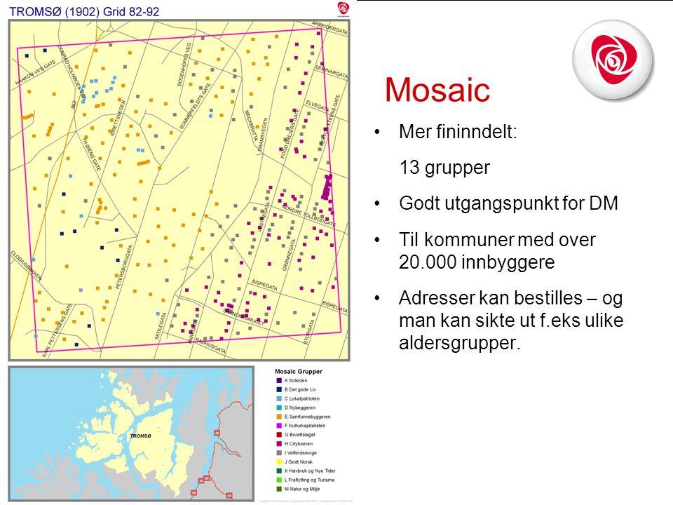Mosaic •Mer fininndelt: 13 grupper •Godt utgangspunkt for DM •Til kommuner med over 20.000 innbyggere •Adresser kan bestilles – og man kan sikte ut f.eks ulike aldersgrupper.