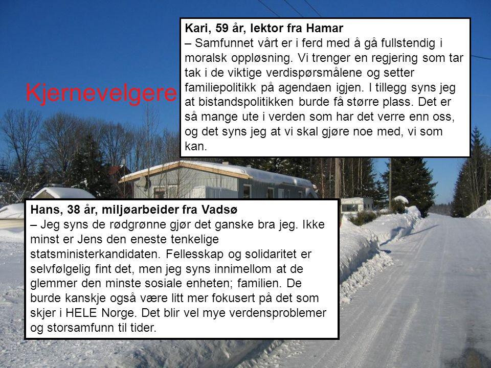 Kjernevelgere land Hans, 38 år, miljøarbeider fra Vadsø – Jeg syns de rødgrønne gjør det ganske bra jeg.