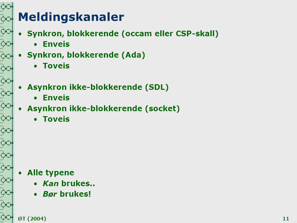 ØT (2004)11 Meldingskanaler •Synkron, blokkerende (occam eller CSP-skall) •Enveis •Synkron, blokkerende (Ada) •Toveis •Asynkron ikke-blokkerende (SDL)