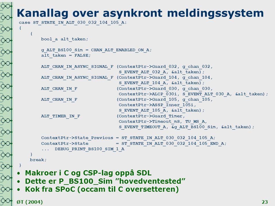 ØT (2004)23 Kanallag over asynkront meldingssystem case ST_STATE_IN_ALT_030_032_104_105_A: { { bool_a alt_taken; g_ALT_BS100_Sim = CHAN_ALT_ENABLED_ON