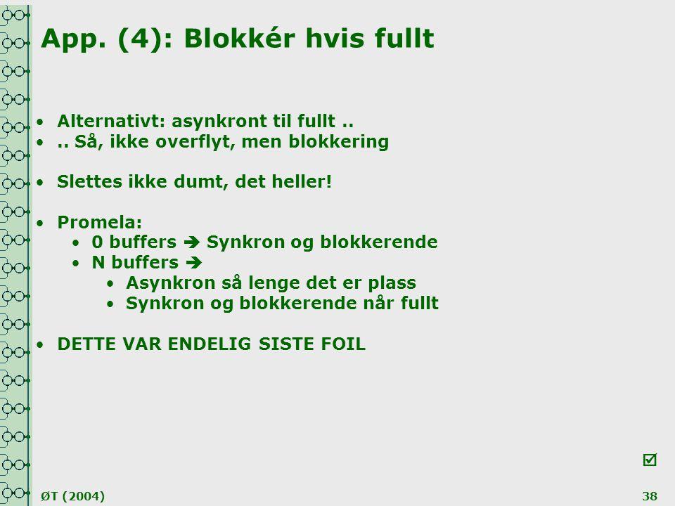 ØT (2004)38 App. (4): Blokkér hvis fullt •Alternativt: asynkront til fullt.. •.. Så, ikke overflyt, men blokkering •Slettes ikke dumt, det heller! •Pr