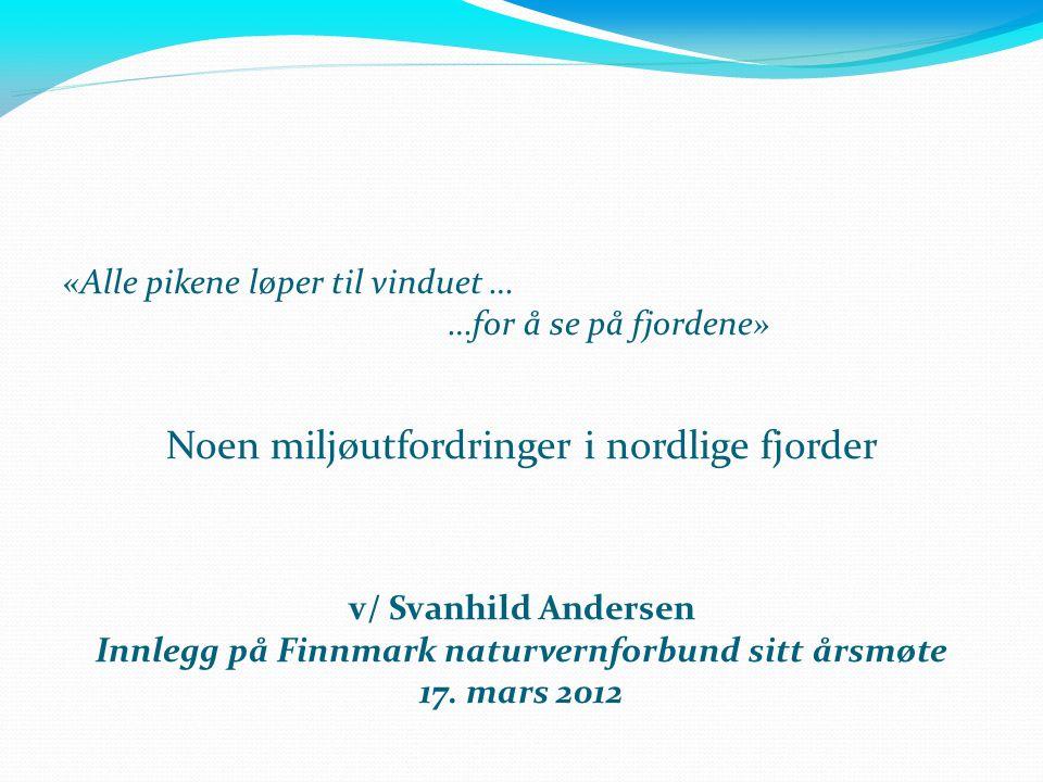 «Alle pikene løper til vinduet … …for å se på fjordene» Noen miljøutfordringer i nordlige fjorder v/ Svanhild Andersen Innlegg på Finnmark naturvernfo