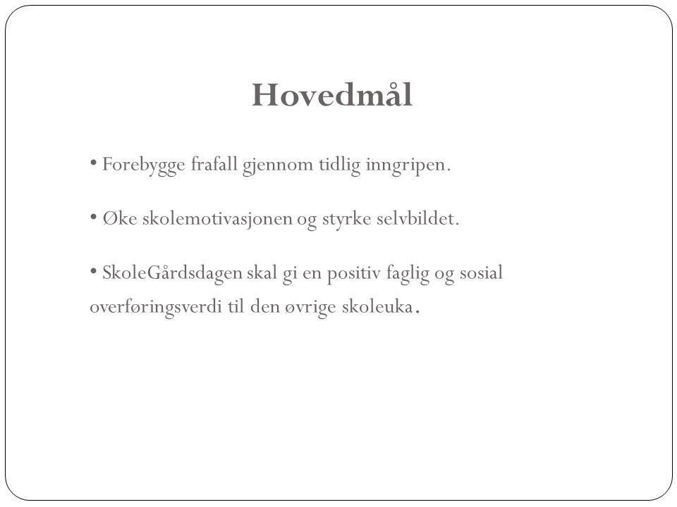 2011/2012 • 2 fullfinansierte Skolegårds - dager fra skoleåret 09/10 som gir et tilbud til 36 elever fordelt på 2 dager.