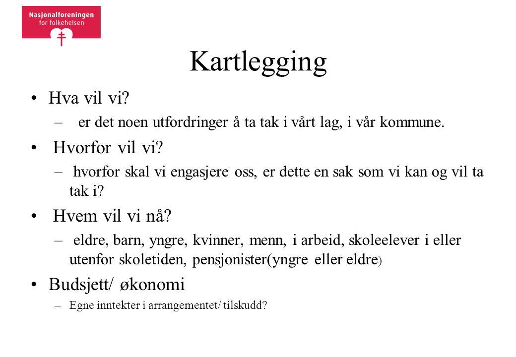 Kartlegging •Hva vil vi. – er det noen utfordringer å ta tak i vårt lag, i vår kommune.