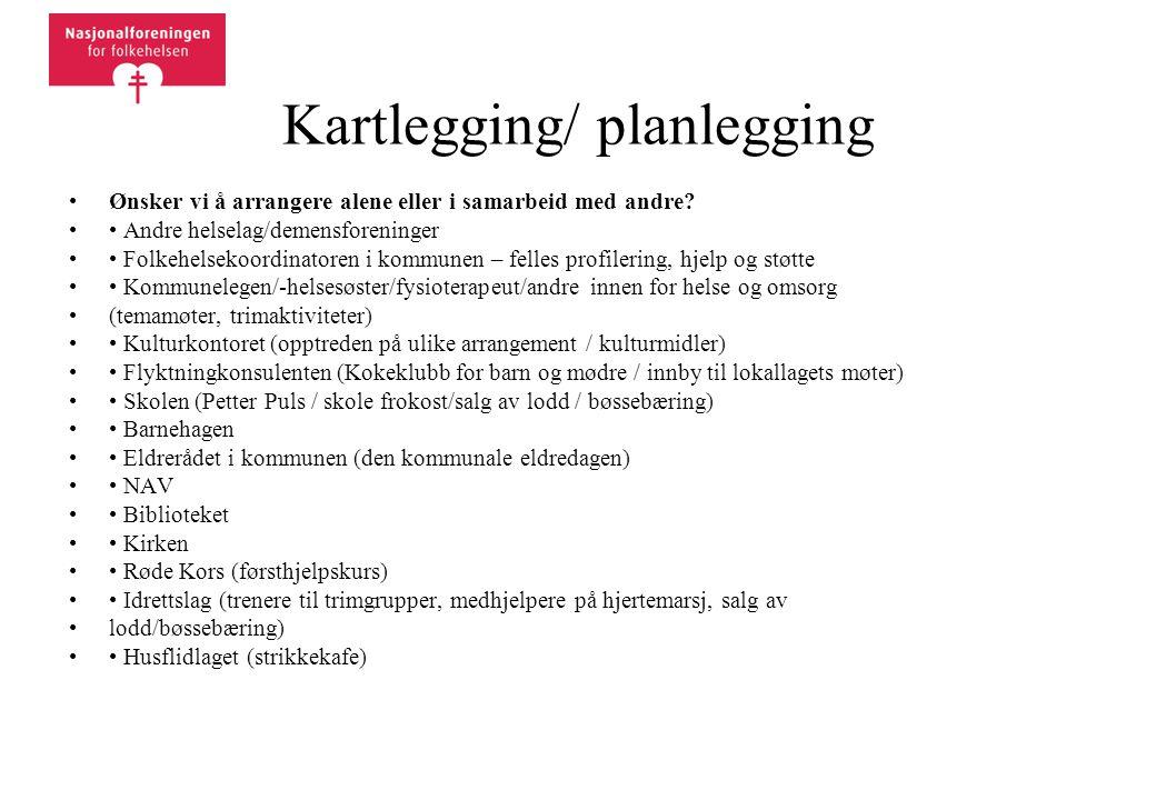 Kartlegging/ planlegging •Ønsker vi å arrangere alene eller i samarbeid med andre? •• Andre helselag/demensforeninger •• Folkehelsekoordinatoren i kom