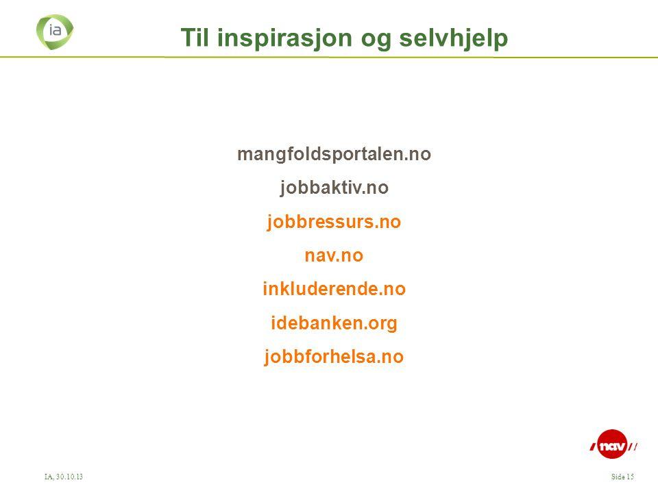 IA, 30.10.13Side 15 Til inspirasjon og selvhjelp mangfoldsportalen.no jobbaktiv.no jobbressurs.no nav.no inkluderende.no idebanken.org jobbforhelsa.no