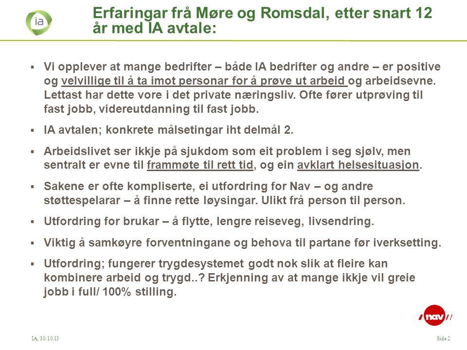 IA, 30.10.13Side 2 Erfaringar frå Møre og Romsdal, etter snart 12 år med IA avtale:  Vi opplever at mange bedrifter – både IA bedrifter og andre – er