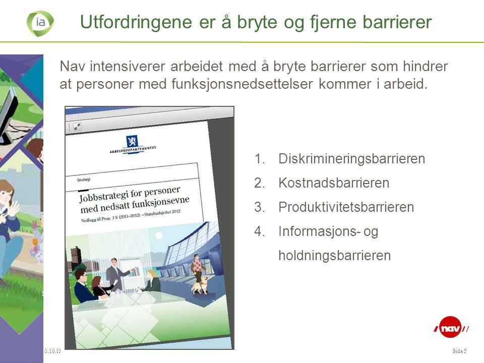 IA, 30.10.13Side 5 Utfordringene er å bryte og fjerne barrierer Nav intensiverer arbeidet med å bryte barrierer som hindrer at personer med funksjonsn