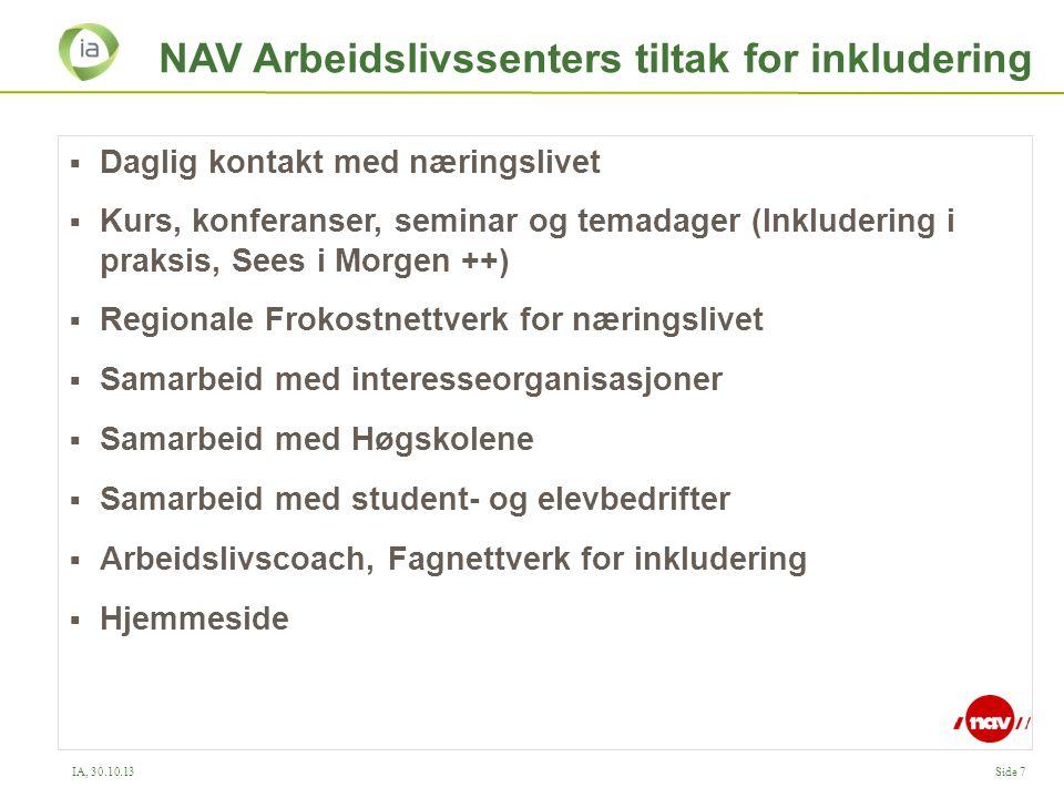 IA, 30.10.13Side 7 NAV Arbeidslivssenters tiltak for inkludering  Daglig kontakt med næringslivet  Kurs, konferanser, seminar og temadager (Inkluder