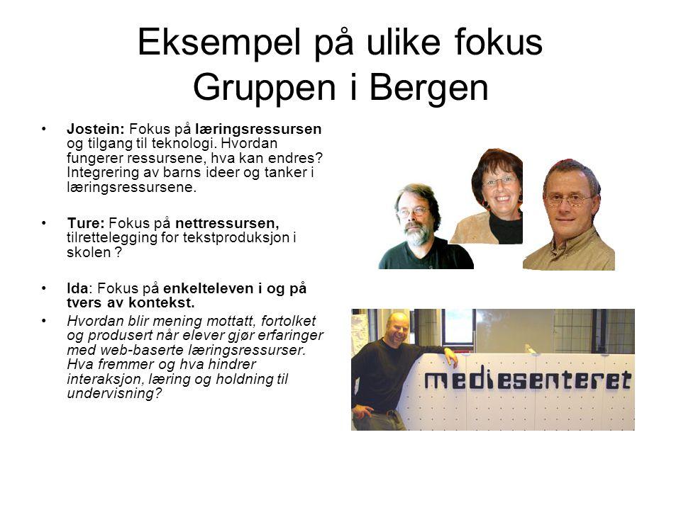 Eksempel på ulike fokus Gruppen i Bergen •Jostein: Fokus på læringsressursen og tilgang til teknologi. Hvordan fungerer ressursene, hva kan endres? In