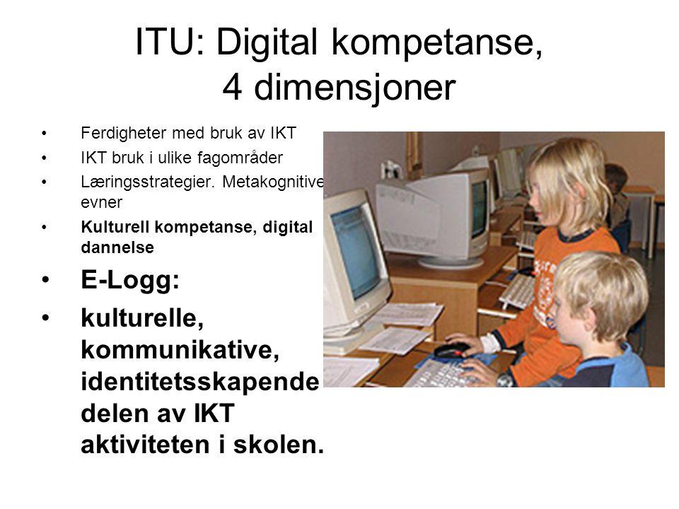 ITU: Digital kompetanse, 4 dimensjoner •Ferdigheter med bruk av IKT •IKT bruk i ulike fagområder •Læringsstrategier. Metakognitive evner •Kulturell ko