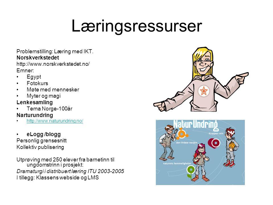 Læringsressurser Problemstilling: Læring med IKT. Norskverkstedet http://www.norskverkstedet.no/ Emner: •Egypt •Fotokurs •Møte med mennesker •Myter og