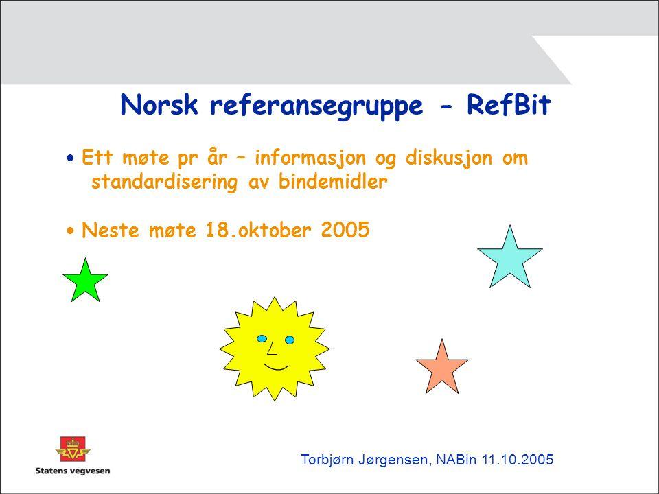 Norsk referansegruppe - RefBit • Ett møte pr år – informasjon og diskusjon om standardisering av bindemidler • Neste møte 18.oktober 2005 Torbjørn Jørgensen, NABin 11.10.2005