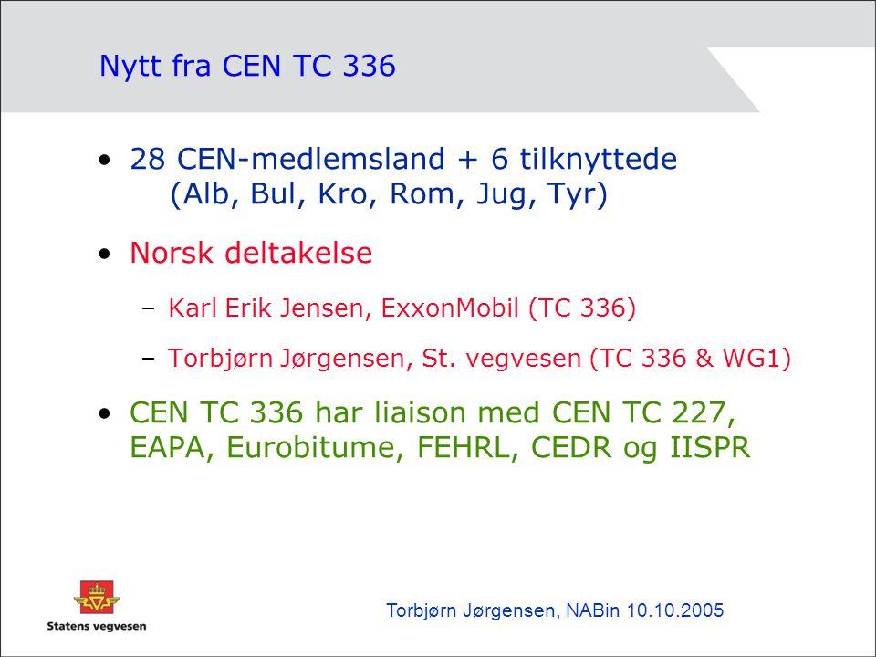 Nytt fra CEN TC 336 •28 CEN-medlemsland + 6 tilknyttede (Alb, Bul, Kro, Rom, Jug, Tyr) •Norsk deltakelse –Karl Erik Jensen, ExxonMobil (TC 336) –Torbjørn Jørgensen, St.