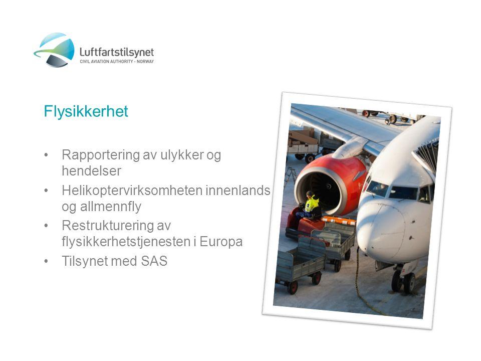 Flysikkerhet •Rapportering av ulykker og hendelser •Helikoptervirksomheten innenlands og allmennfly •Restrukturering av flysikkerhetstjenesten i Europa •Tilsynet med SAS