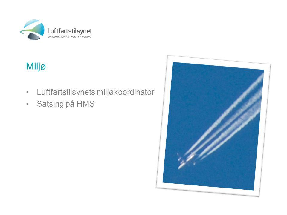 Miljø •Luftfartstilsynets miljøkoordinator •Satsing på HMS