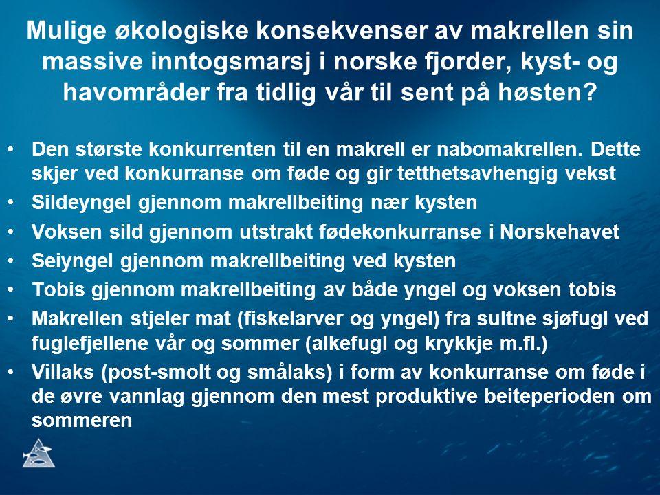 Mulige økologiske konsekvenser av makrellen sin massive inntogsmarsj i norske fjorder, kyst- og havområder fra tidlig vår til sent på høsten? •Den stø