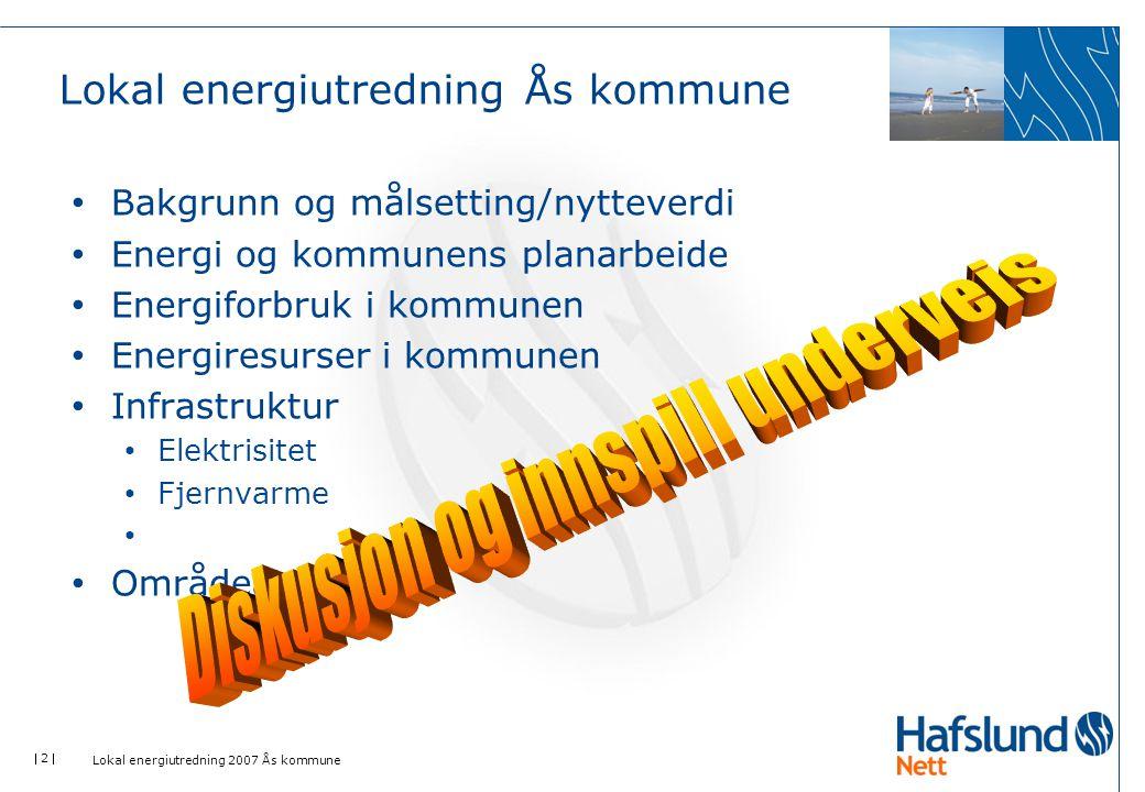  3  Lokal energiutredning 2007 Ås kommune • Nedgang i klimagassutslippene de siste 2 årene • Ned 0,8% fra 2005 til 2006 • Økning mot 2010 er pga.