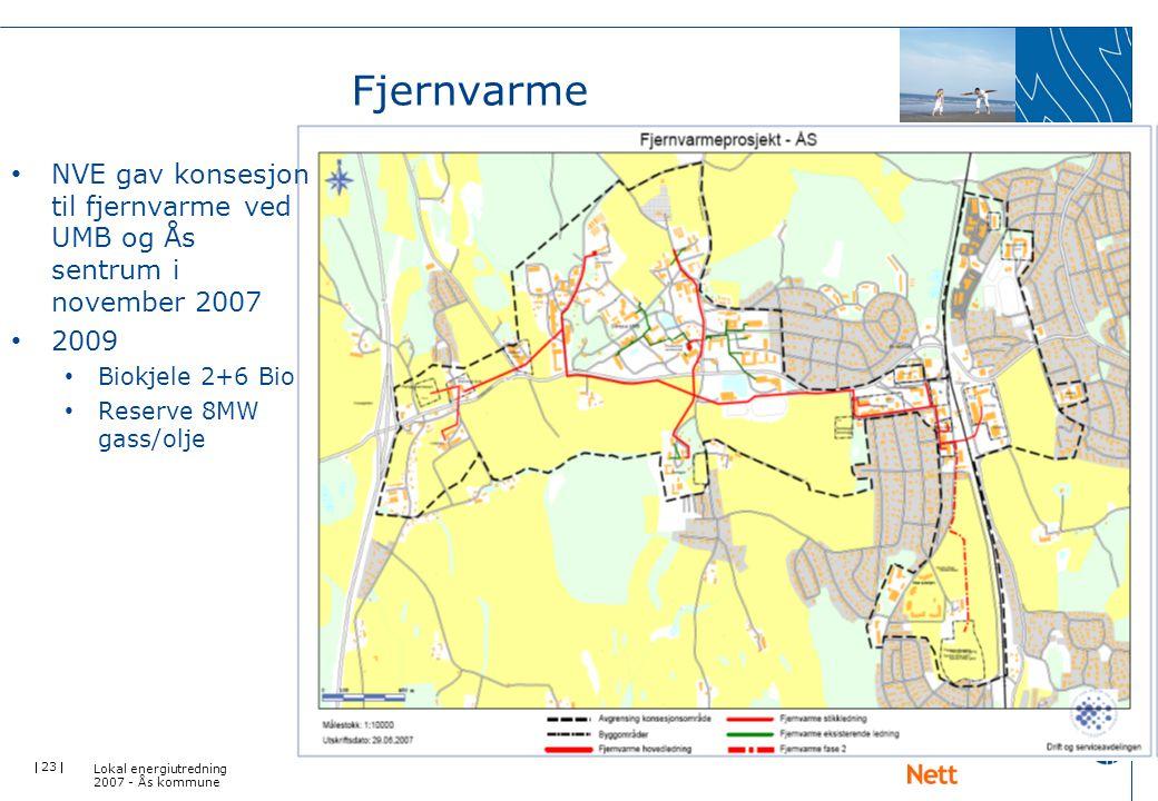  23  Fjernvarme Lokal energiutredning 2007 - Ås kommune • NVE gav konsesjon til fjernvarme ved UMB og Ås sentrum i november 2007 • 2009 • Biokjele 2