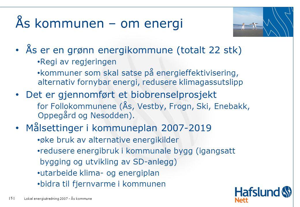  16  Energiutvikling - Energisituasjonen i kommune Sankeydiagram • Viser energiressurser i kommunen • Viser energiforbruk i kommunen • Viser potensial for utnyttelse av både målbare og ikke målbare energiressurser Lokal energiutredning 2007 - Ås kommune