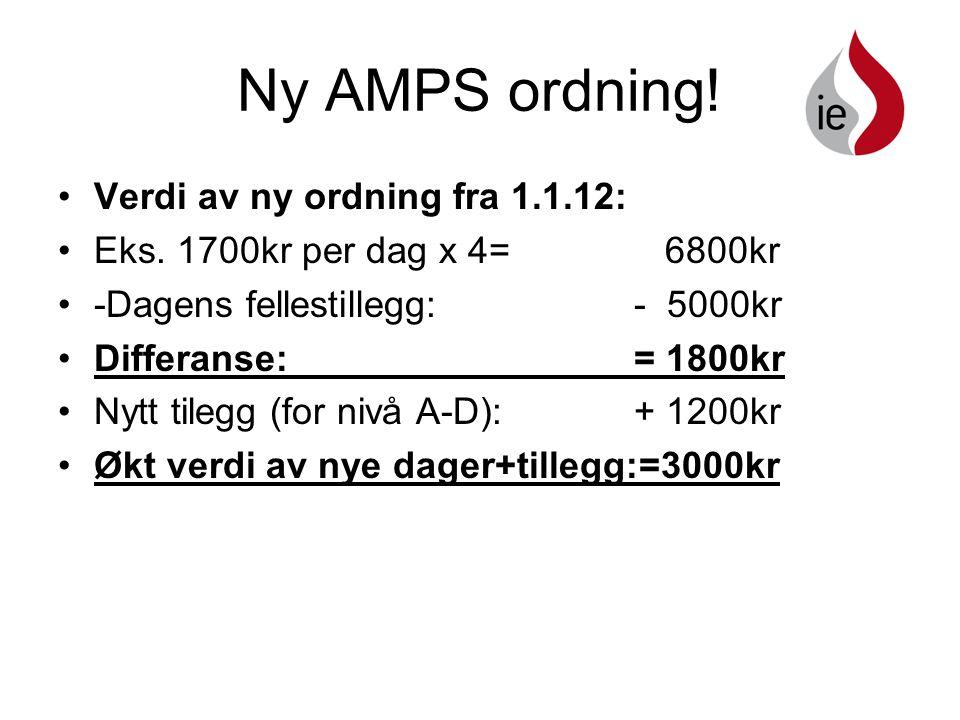 Ny AMPS ordning.•Verdi av ny ordning fra 1.1.12: •Eks.