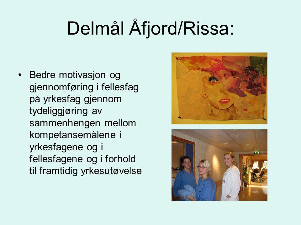 Delmål Åfjord/Rissa: •Bedre motivasjon og gjennomføring i fellesfag på yrkesfag gjennom tydeliggjøring av sammenhengen mellom kompetansemålene i yrkesfagene og i fellesfagene og i forhold til framtidig yrkesutøvelse