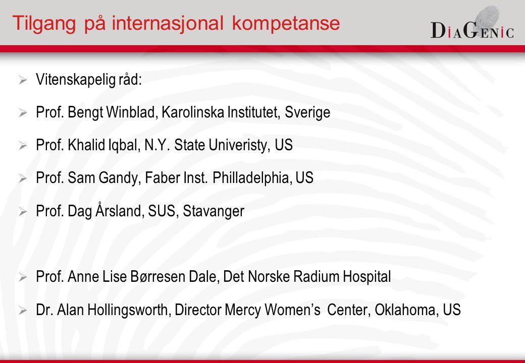 Tilgang på internasjonal kompetanse  Vitenskapelig råd:  Prof.