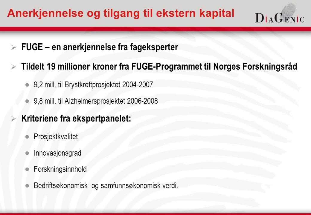Anerkjennelse og tilgang til ekstern kapital  FUGE – en anerkjennelse fra fageksperter  Tildelt 19 millioner kroner fra FUGE-Programmet til Norges Forskningsråd  9,2 mill.