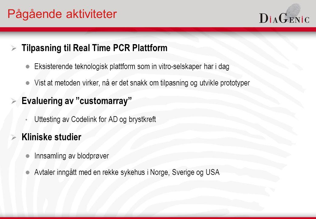 Pågående aktiviteter  Tilpasning til Real Time PCR Plattform  Eksisterende teknologisk plattform som in vitro-selskaper har i dag  Vist at metoden virker, nå er det snakk om tilpasning og utvikle prototyper  Evaluering av customarray • Uttesting av Codelink for AD og brystkreft  Kliniske studier  Innsamling av blodprøver  Avtaler inngått med en rekke sykehus i Norge, Sverige og USA