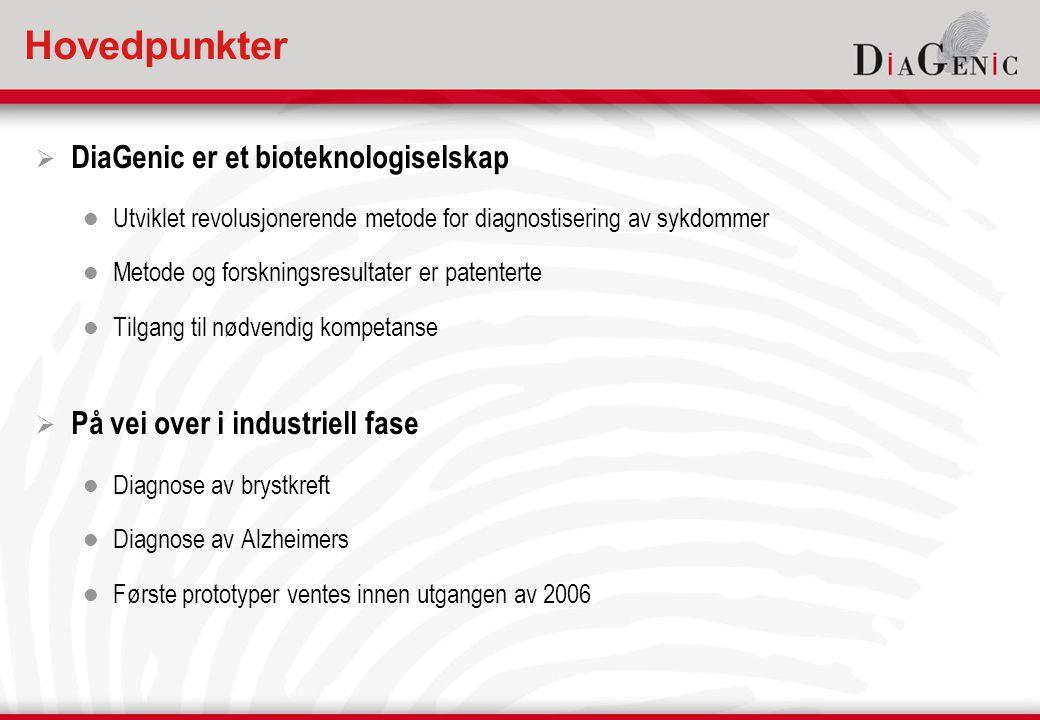 Hovedpunkter  DiaGenic er et bioteknologiselskap  Utviklet revolusjonerende metode for diagnostisering av sykdommer  Metode og forskningsresultater er patenterte  Tilgang til nødvendig kompetanse  På vei over i industriell fase  Diagnose av brystkreft  Diagnose av Alzheimers  Første prototyper ventes innen utgangen av 2006