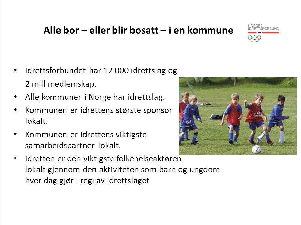 Alle bor – eller blir bosatt – i en kommune • Idrettsforbundet har 12 000 idrettslag og 2 mill medlemskap. • Alle kommuner i Norge har idrettslag. • K