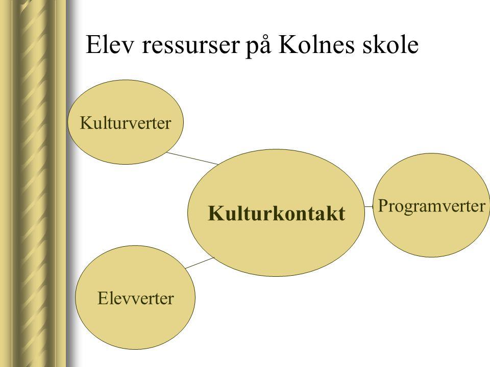 Elev ressurser på Kolnes skole Kulturkontakt Kulturverter Elevverter Programverter