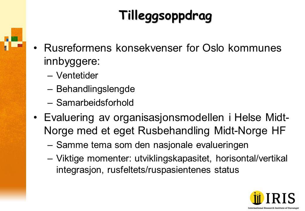 Tilleggsoppdrag •Rusreformens konsekvenser for Oslo kommunes innbyggere: –Ventetider –Behandlingslengde –Samarbeidsforhold •Evaluering av organisasjon