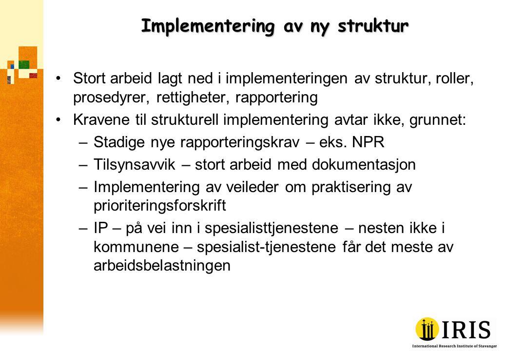 Implementering av ny struktur •Stort arbeid lagt ned i implementeringen av struktur, roller, prosedyrer, rettigheter, rapportering •Kravene til strukt