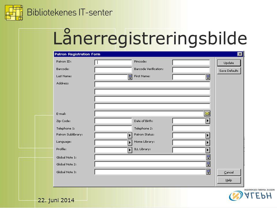 22. juni 2014 Lånerregistreringsbilde