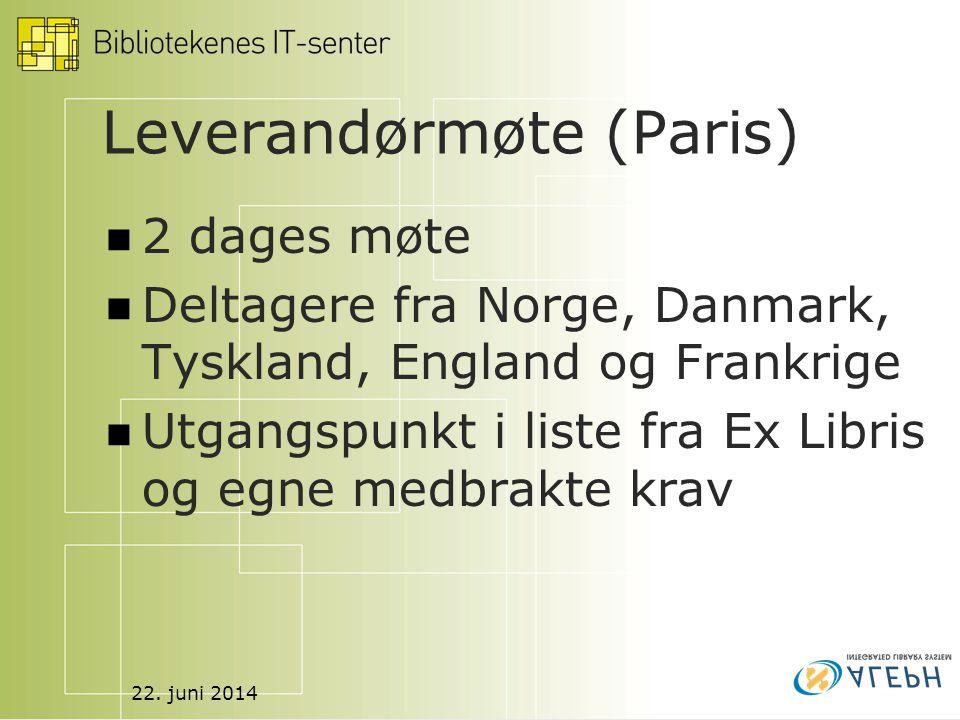 22. juni 2014 Leverandørmøte (Paris)  2 dages møte  Deltagere fra Norge, Danmark, Tyskland, England og Frankrige  Utgangspunkt i liste fra Ex Libri