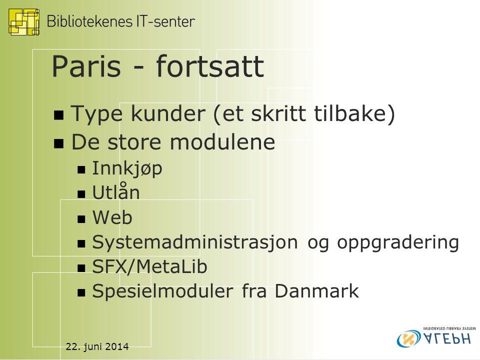 22. juni 2014 Paris - fortsatt  Type kunder (et skritt tilbake)  De store modulene  Innkjøp  Utlån  Web  Systemadministrasjon og oppgradering 