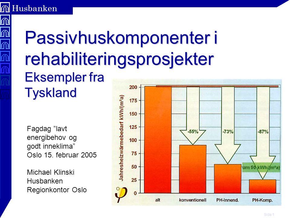 """Side 1 Husbanken Passivhuskomponenter i rehabiliteringsprosjekter Eksempler fra Tyskland Fagdag """"lavt energibehov og godt inneklima"""" Oslo 15. februar"""