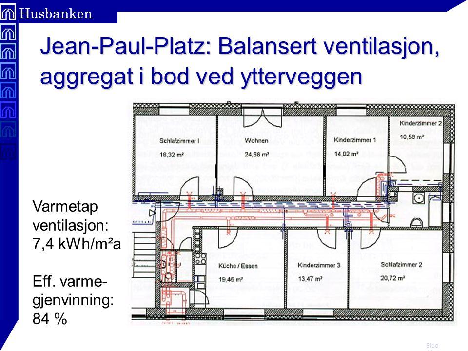 Side 14 Husbanken Jean-Paul-Platz: Balansert ventilasjon, aggregat i bod ved ytterveggen Varmetap ventilasjon: 7,4 kWh/m²a Eff. varme- gjenvinning: 84