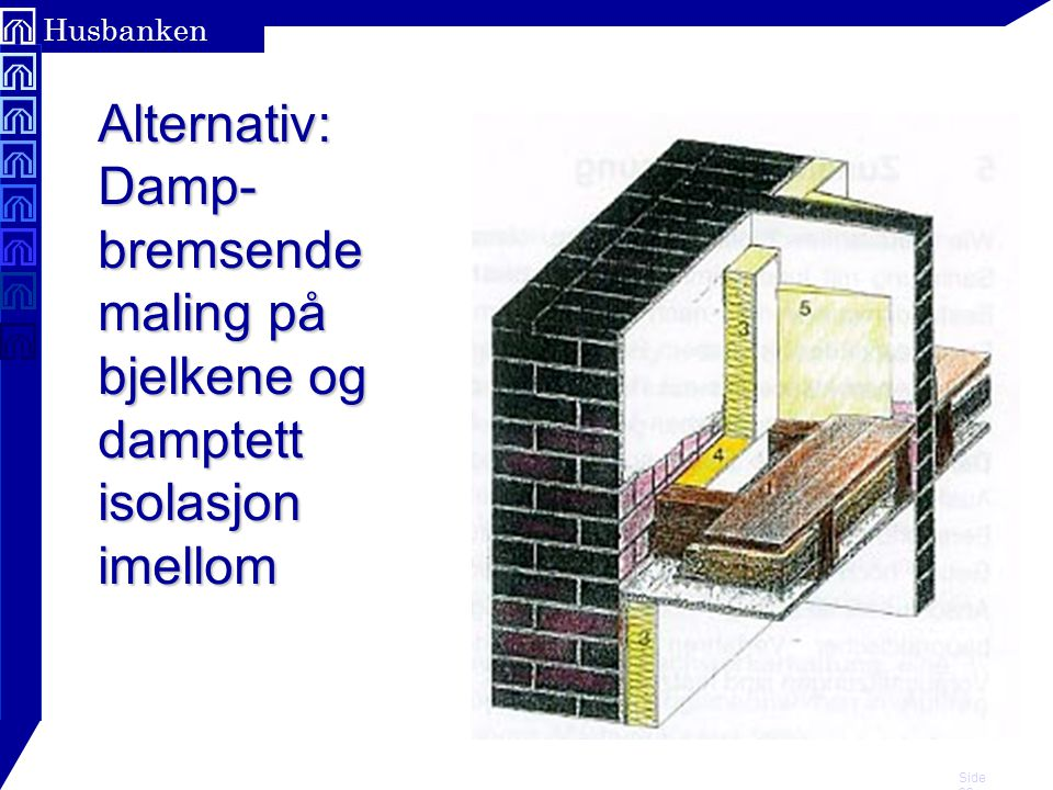 Side 23 Husbanken Alternativ: Damp- bremsende maling på bjelkene og damptett isolasjon imellom