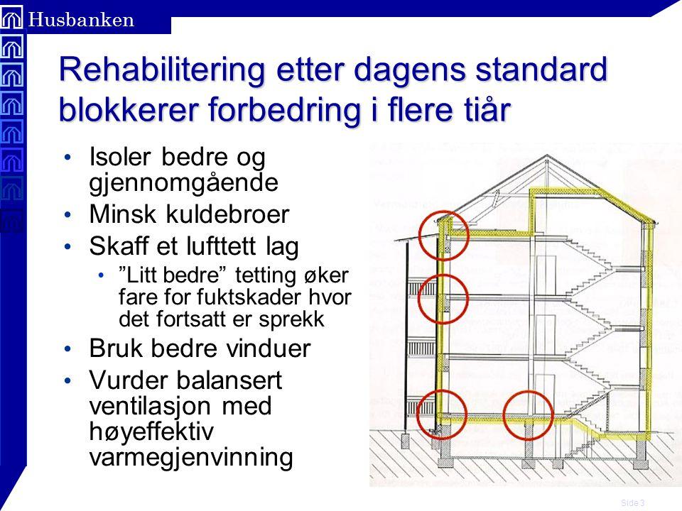 Side 4 Husbanken Kritiske overflatetemperaturer For kondens For mugg Relativ fukt ved overflata Overflatetemperatur ºC Ved 20 °C romtemperatur og 50 % relativ luftfuktighet